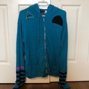 Blue zip-up sweater from Free City